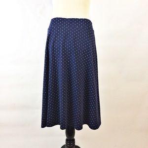 Lands end navy blue polka dot pullon  knit skirt